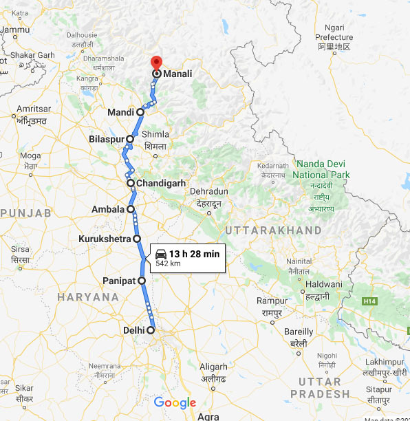 Delhi to Manali by Road: Route 1
