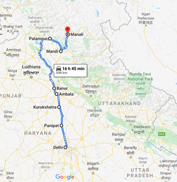 Delhi to Manali by Road: Route 2