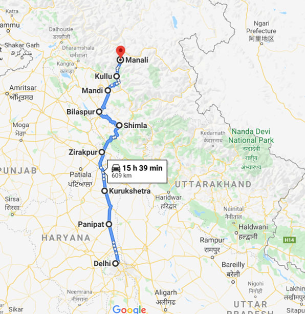 Delhi to Manali by Road: Route 3